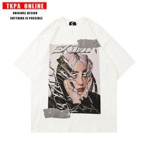 TKPA High Street Asian forced wind printed short sleeve men's Dark Funeral loose hip-hop fashion brand T-shirt lovers KVCBUEN4