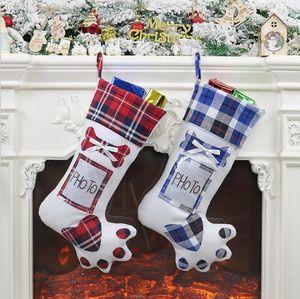 Christmas Plaid Stockings Socks Gift Bag Creative Dog Paw Hanging Socks Christmas Tree Decorative Candy Bag Christmas Stockings GWC2326