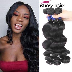 Ishow 10A Mink Corpo brasileira Hetero solto Deep Water Cabelo Humano Pacotes não transformados extensões do cabelo humano peruano cabelo Weave Pacotes