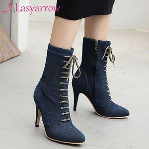Lasyarrow 부츠 데님 여성 발목 기본 하이힐 뾰족한 발가락 여성 성인 파란 가을 겨울 패션 부츠 신발을 교차 연결
