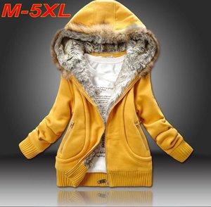 Plus size 5XL Wholesale Winter Coat Sweatshirt Hoodies Fur Hooded Outwear Women Clothing Cardigans Thick Coat Jacket C5410