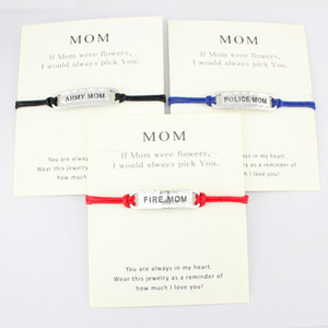 Army Fire Thin Blue Line Mom Wife Daughter Grandma Grandpa Sister Father Charm Card Bracelets Wax Cord Women Fashion Jewelry