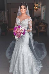 Sexy See Through Design Neckline Bride Dresses Long Sleeve Mermaid Wedding Party Dress Vestidos De Novia Custom Made