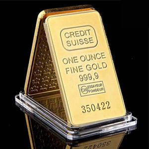 Кредит Suisse Ingot 1oz Gold Closed Bullion Bar Швейцарская сувенирная монета подарок 50 х 28 мм с различным последовательным лазерным числом