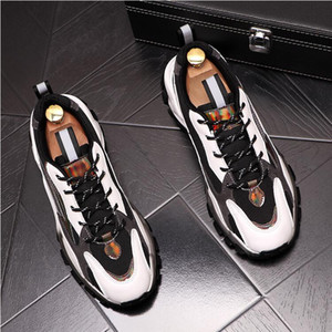 Hot Sale TOP quality New Men streets Sneakers Causal flat platform shoes designer Loafers Lace Up Social Masculino Dress Shoes D169