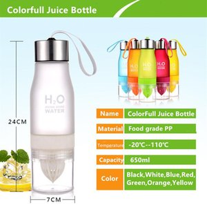650ml jus Mignon Sport Bouteilles d'eau Bouteille shaker Bpa H2o Waterbottle gratuit Drinkware Infuser fruits potable citron tomate LFYVr