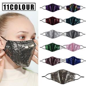 Mode Bling 3d waschbare wiederverwendbare Maske PM2.5 staubdichte Mundmasken Luxus Pailletten Designs Frauen Gesichtsmaske DHL Freies Verschiffen