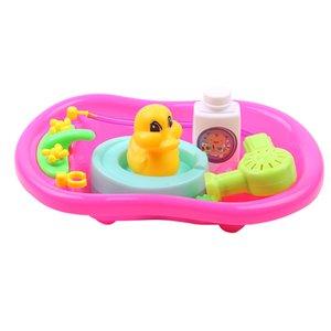 Ensemble de Tout-petit bébé Jeux de rôles Baignoire Bain d'eau Jeu de puzzle développement de jouets préscolaires Rouge