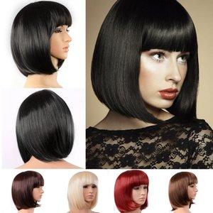 Mode BOB hellbraun schwarze Frauen-Haar Perücke kurz gerade synthteic Hochtemperatur Perücke