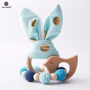 Давайте сделаем 2pc / 1lot Прорезыватель уха зайчика DIY Зубные Браслеты деревянные Made буковые Животные Душ подарков Играть Gym Детские игрушки Rattle C0924