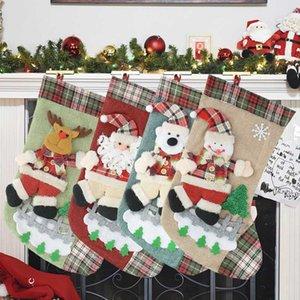 Christmas Gift Socks Santa Claus Stockings Xmas Tree Hanging Decor New Year Christmas Candy Bag Home Fireplace Ornaments Navidad