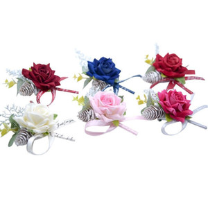New Rustic Brooch Corsages for the Groom Groomsmen Party Prom Fashion Vests Suit Wedding Suits for Men Wedding Suit Grooms Men Rose Flowers