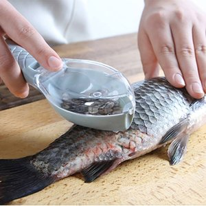 Fish Scales Graters Scraper Fish Cleaning Tool Scraping Scales Device with Cover Home Kitchen Cooking Fishing Tool