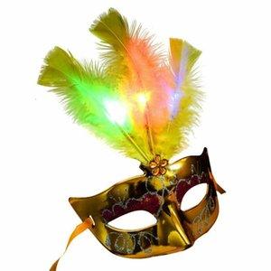 Máscaras del carnaval de vestir para mujer máscara veneciana de la pluma de Led luminoso Bachelorette Party Fantasía