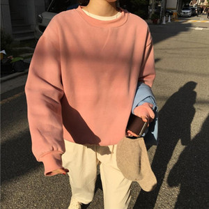 O neck Long Sleeve Womens Sweatshirt Solid Black Pink Streetwear 2020 Spring Pullover Fashion Loose Thicken Female Clothes