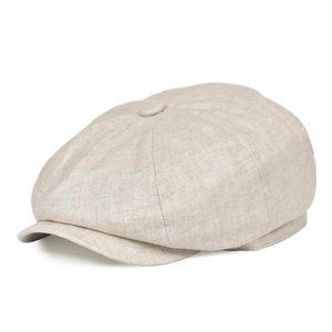 BOTVELA Summer Linen Newsboy Cap Men Women Herringbone Bakerboy Caps Lightweight Breathable Flat Hat Apple Beret Hats 007 T200911