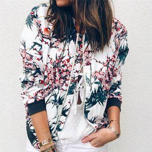 Женская куртка Ретро цветочные Zipper Up Bomber Jacket Повседневная мода пальто Outwear Casacas Para Mujer Plus Size