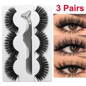 3 Pairs Mink False Eyelashes With 1Pc Tweezer Wispy Fluffy Thick Long Fake Eye Lashes Handmade Natural Eye Makeup Extension Tool