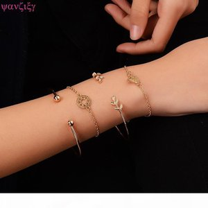 YANZIXG 4 pieces set classic arrow knot round multilayer adjustable open loop bracelet set ladies fashion party jewelry gifts