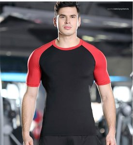 Quick Dry Tshirt Pro Short Sleeve Patchwork Tees Slim Gym Casaul Basketball Sportwear Mens Clothing Summer Mens Sport