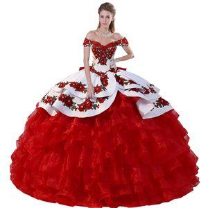 Vibrante Hombro con gradas del satén bordado apliques negrita mexicana Charro negro y rojo vestido de bola de Quinceanera Con Arco Volver