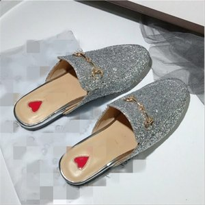 Hot Sale-Brand Mules Princetown Women Slippers Mules Flats Genuine Leather Fashion Metal Chain Ladies Casual shoes size 34 - 41 cs03