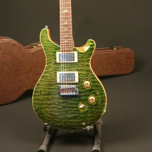 Top Quality Electric Guitar 5A Grade Quilted Maple Army Green Color Bird Inlay