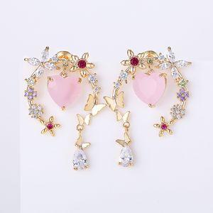 XIUMEIYIZU 심장 지르콘 드롭 귀걸이 여성 결혼 럭셔리 보석 선물 골드 로듐 도금 귀걸이 나비 꽃