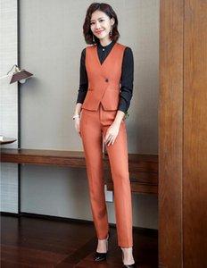 Trajes de pantalones formales Naranja elegante con la pieza 2 tapas y pantalones Estilos Uniforme Escudo para las mujeres de las señoras de los juegos de pantalones chaleco