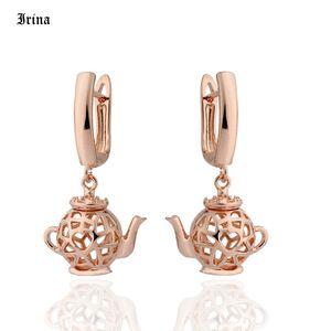 585 Rose Gold Küpe moda takı 2020 Benzersiz Hollow Sevimli Çaydanlık Şekli Tasarımı Küpe İçin Kadınlar mücevher toptan