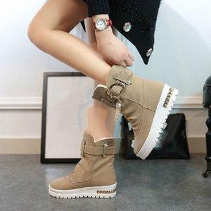 2017 Nova Inverno Womens Botas além de veludo balanço sapatos de plataforma neve Botas fêmeas térmica de algodão acolchoado sapatos plana tornozelo Jugo #