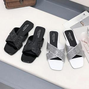 Лето New Solid Color Тапочки Женщины Non скольжения крест пришивания Тапочки Удобный Антипробуксовочная Wild Повседневный Non скольжению пляжная обувь Софо #