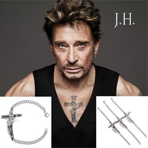 Bangle Rock Singer 프랑스어 조니 Hallyday 컬렉션 기타 크로스 스테인레스 스틸 팔찌 보석 남성 Christian Crucifix