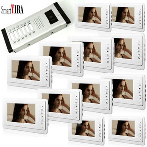 """SmartYIBA 7"""" Görüntülü Kapı Telefonu 3 12 Adet Kablolu daireler için Hands-Free Görüntülü Kapı Güvenlik interkom Bina Otomasyon"""