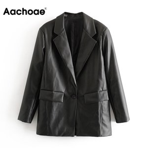 Aachoae Женщины PU искусственной кожи Blazer костюм с длинным рукавом Streetwear черный жакет с насечкой воротник Сыпучие Карманы вскользь Blazers