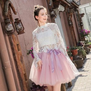 Womens High Waist Princess Tulle Skirt Adult Dance Petticoat A Line Wedding Party Tutu 7 Layers Midi Lolita Faldas Saia