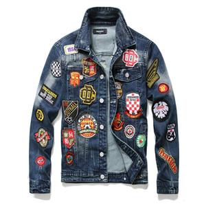 2020 men's worn-out slim stretch denim jacket wind badge denim coat long sleeve fashion S7SP