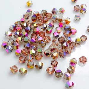 Wholesale hot crystal glass 5301 # loose spacer bicone Beads 3mm 4mm 6mm Half rose copper