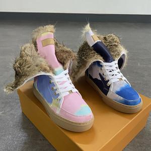 Las mujeres botas de invierno botas para la nieve real conejo motocycle piel del cuero del ante botines a prueba de agua caliente del invierno de la rodilla de alta botas de moda Zapatos de mujer