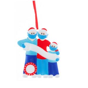 2020 Bendición sobreviviente Decoración de Navidad personalizado familia Resina colgante colgante de Navidad ornamento de la familia de 3