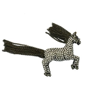 Lifelike Antique Bronze Chain Tassel Horse Brooch Pins Vintage Metal Rhinestone Chinese Zodiac Animal Gift