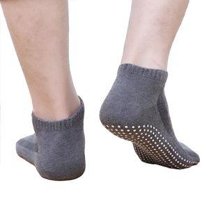 Hommes Chaussettes élastique souple court Socquettes haute qualité coton non-dérapant Pilates chaussettes antidérapage Respirant