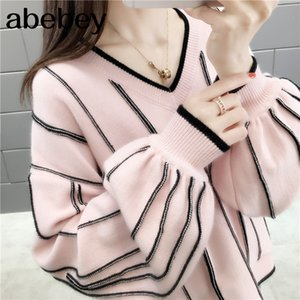 Autumn Winter 2020 New Knitted Sweater Women Loose wild Fashion V Neck Striped Pullover Patch Pull Femme lady Top 46650
