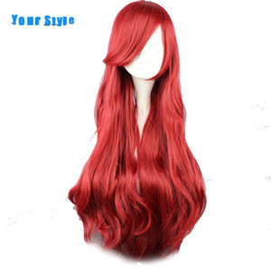Your Style 19 Colors 85cm Synthetic Long Wavy Cosplay Wigs Women Black Red Brown Purple White High Temperature Fiber