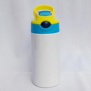 12 once sublimazione Sippy Cup sublimazione Bottiglia d'acqua Bambini con coperchio paglia portatile Alcol acciaio inossidabile bicchiere trasporto marittimo OOA9057