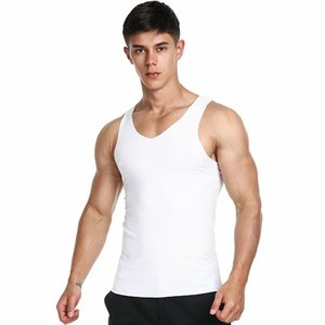 TECHOME Cotton Solid Undershirts Male Tanks Men's Close-fitting Vest Fitness Elastic Casual O-neck Breathable H Type All