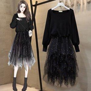 2020 가을 드레스 2 조각 세트 여자 광장 칼라 니트 셔츠 블랙 랜턴 슬리브 + 메쉬 다이아몬드 세트 스커트 두 벌의 양복