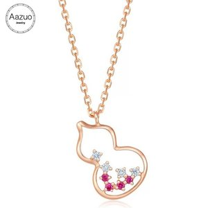 Aazuo 18K Rose Gold Natural Ruby Real Diamonds Fashion Lovely Gourd Pendent Necklace gifted for Women Au750