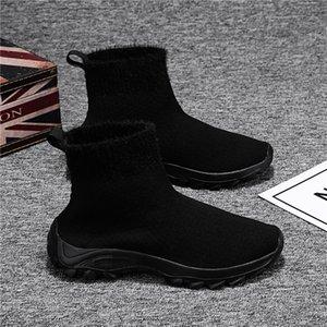 Women Socks Shoes Breathable Mesh Light High Top Women Elastic Socks Sneakers Woman Ladies Flat Running Walking Shoe