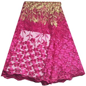 5 Yards Fushia Swiss Voile Cotton Lace Embroidery Organza African Fabric French Lace Rhinestone KRL-6818